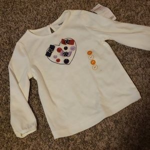 3/$12 NWT button heart top